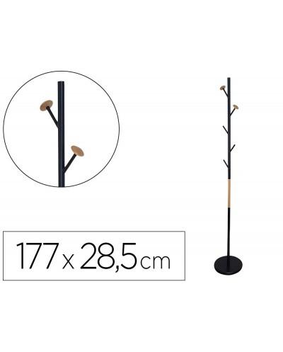 Perchero metalico q connect negro con detalles de madera 5 colgadores 177x285 cm