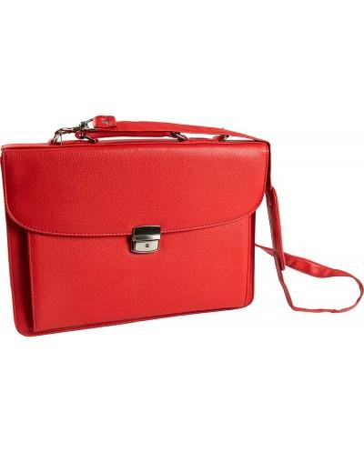Cartera portadocumentos q connect con correa cierre metalico y departamentos interiores color rojo 390x280