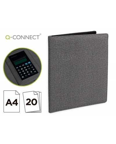 Carpeta portafolios q connect a4 con calculadora bloc 20 hojas y departamentos interiores color gris 250x315