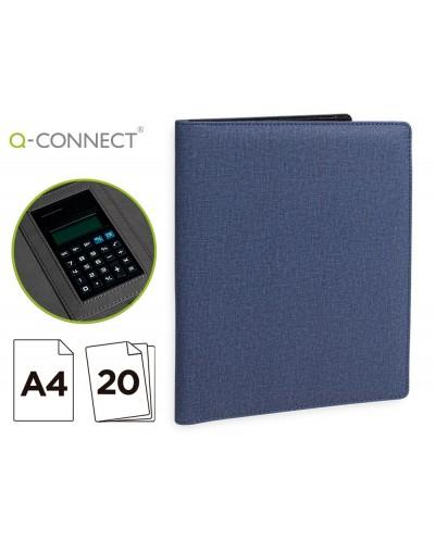 Carpeta portafolios q connect a4 con calculadora bloc 20 hojas y departamentos interiores color azul 250x315