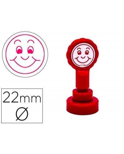 Sello artline emoticono sonrisa color rojo 22 mm diametro