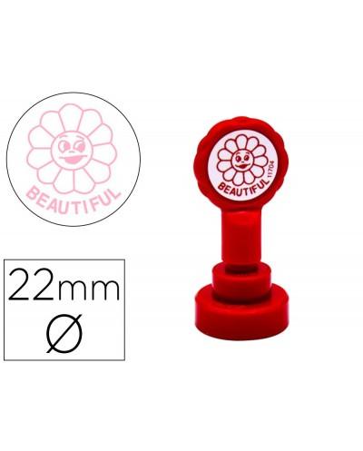 Sello artline emoticono precioso color rosa 22 mm diametro