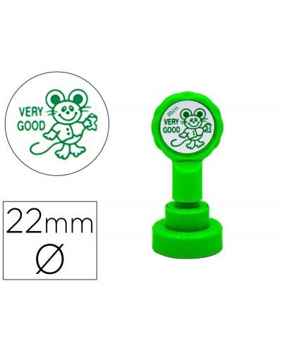 Sello artline emoticono muy bien color verde 22 mm diametro