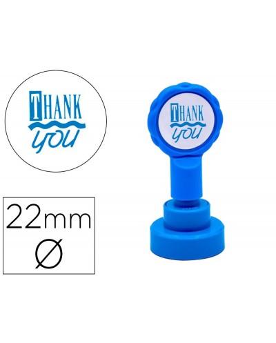 Sello artline emoticono gracias color azul 22 mm diametro