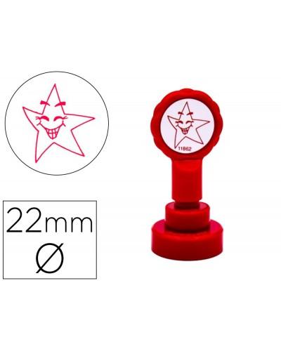 Sello artline emoticono estrella color rojo 22 mm diametro