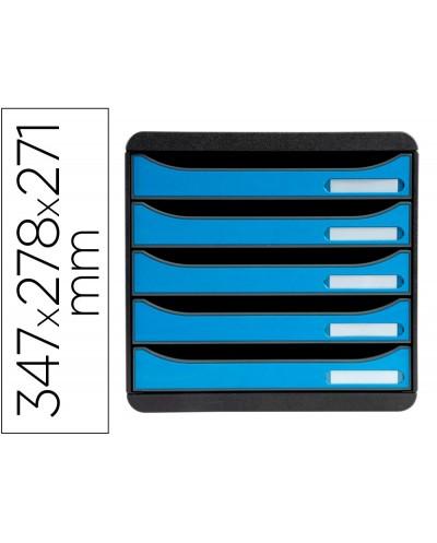 Fichero de cajones sobremesa exacompta big box clean safe 5 cajones azul