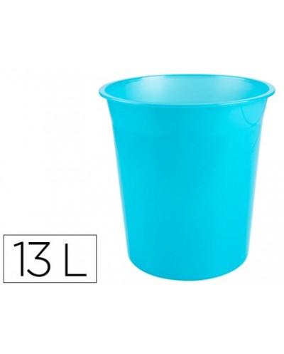 Papelera plastico q connect turquesa translucido 13 litros dim 275x285 mm