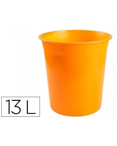 Papelera plastico q connect naranja translucido 13 litros dim 275x285 mm