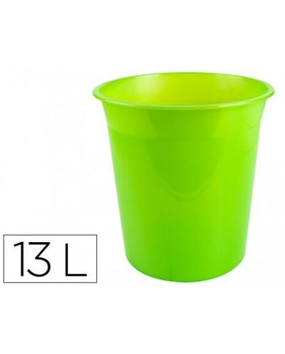 Papelera plastico q connect verde translucido 13 litros dim 275x285 mm