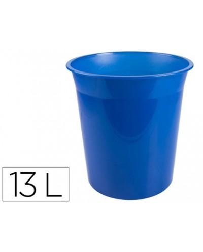 Papelera plastico q connect azul translucido 13 litros dim 275x285 mm