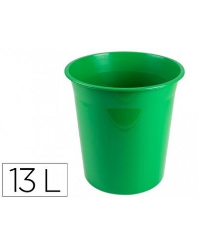 Papelera plastico q connect verde opaco 13 litros dim 275x285mm