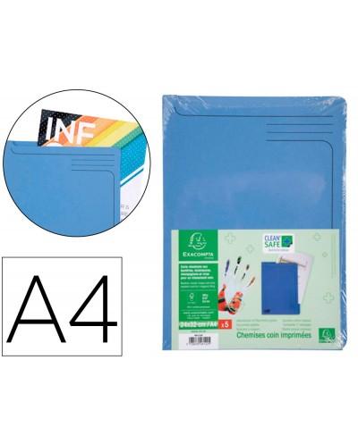 Carpeta dossier unero exacompta clean safe cartulina 400 gr din a4 azul paquete de 5 unidades