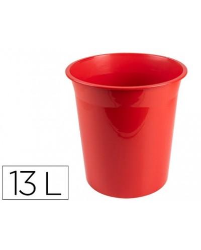 Papelera plastico q connect rojo opaco 13 litros