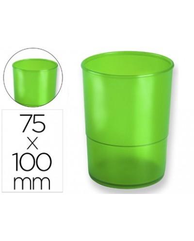 Cubilete portalapices q connect plastico verde translucido