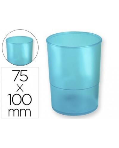 Cubilete portalapices q connect plastico azul translucido