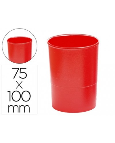 Cubilete portalapices q connect plastico rojo opaco