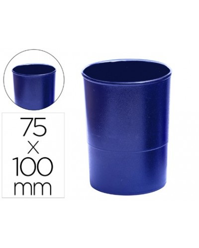 Cubilete portalapices q connect plastico azul opaco
