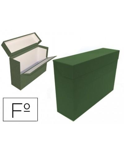 Caja transferencia mariola folio doble carton forrado geltex lomo 20 cm color verde