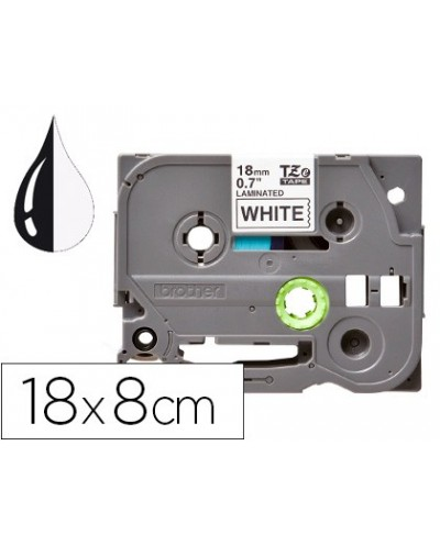 Cinta q connect tze 241 blanco negro 18mm longitud 8 mt