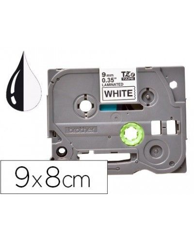 Cinta q connect tze 221 blanco negro 9mm longitud 8 mt