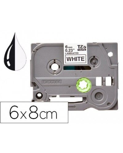 Cinta q connect tze 211 blanco negro 6mm longitud 8 mt