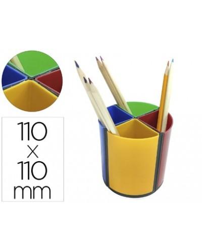 Cubilete portalapices q connect plastico redondo giratorio 4 colores diametro 110 altura 110 mm