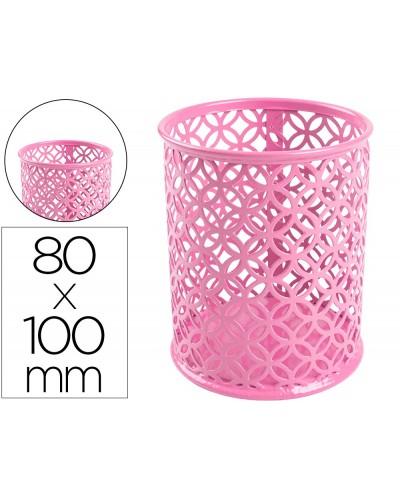 Cubilete portalapices q connect metal redondo rosa diametro 80 altura 100 mm