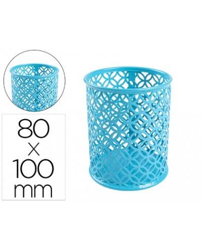 Cubilete portalapices q connect metal redondo turquesa diametro 80 altura 100 mm