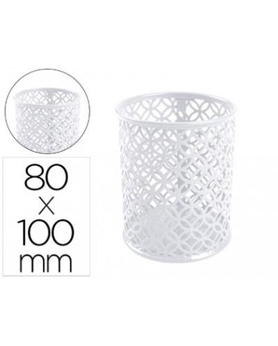 Cubilete portalapices q connect metal redondo blanco diametro 80 altura 100 mm