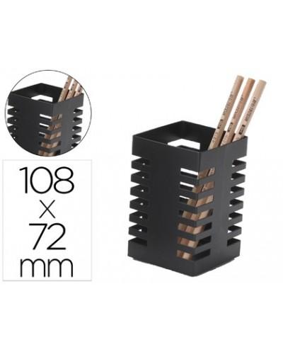 Cubilete portalapices q connect metal cuadrado negro diametro 72 mm altura 108 mm