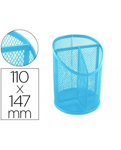 Cubilete portalapices q connect metal rejilla turquesa con 3 compartimientos diametro 110