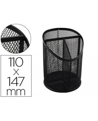 Cubilete portalapices q connect metal rejilla negro con 3 compartimientos diametro 110 altura 147 mm
