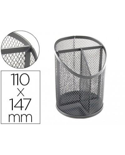 Cubilete portalapices q connect metal rejilla plata con 3 compartimientos diametro 110 altura 147 mm