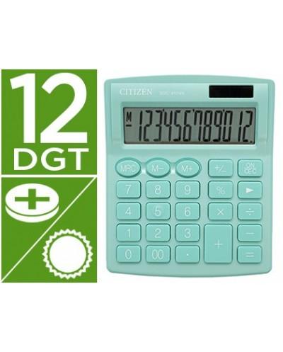 Calculadora citizen sobremesa sdc 812nrgne eco eficiente solar y a pilas 12 digitos 124x102x25 mm verde