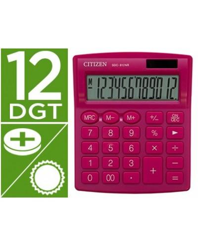 Calculadora citizen sobremesa sdc 812nrpke eco eficiente solar y a pilas 12 digitos 124x102x25 mm rosa