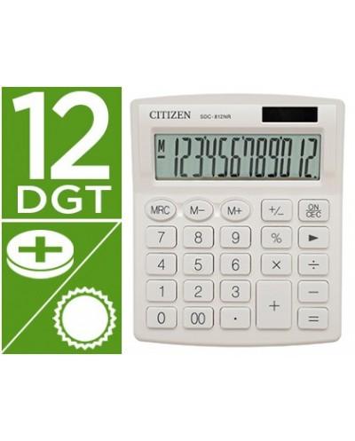 Calculadora citizen sobremesa sdc 812nrwhe eco eficiente solar y a pilas 12 digitos 124x102x25 mm blanco