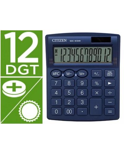 Calculadora citizen sobremesa sdc 812nrnve eco eficiente solar y a pilas 12 digitos 124x102x25 mm azul
