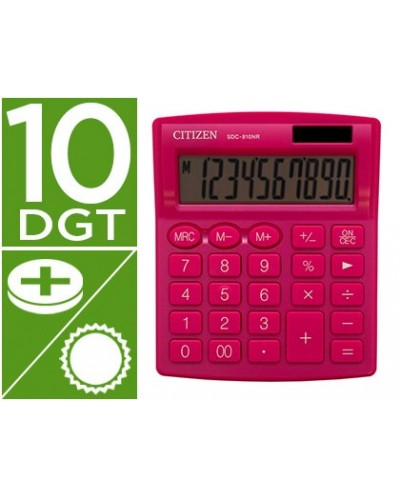 Calculadora citizen sobremesa sdc 810 nrpke 10 digitos 124x102x25 mm rosa