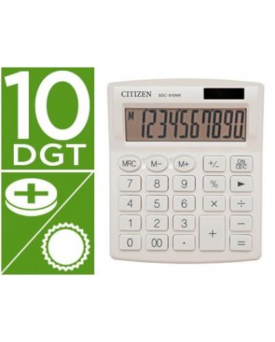 Calculadora citizen sobremesa sdc 810 nrwhe 10 digitos 124x102x25 mm blanco