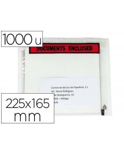 Sobre autoadhesivo q connect portadocumentos multilingue 225x165 mm sin ventana paquete de 1000 unidades