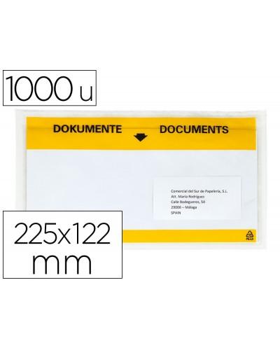 Sobre autoadhesivo q connect portadocumentos multilingue 225x122 mm ventana totalmente transparente paquete de 1000