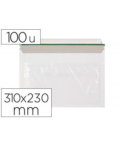 Sobre autoadhesivo q connect portadocumentos 310x230 mm ventana transparente paquete de 100 unidades