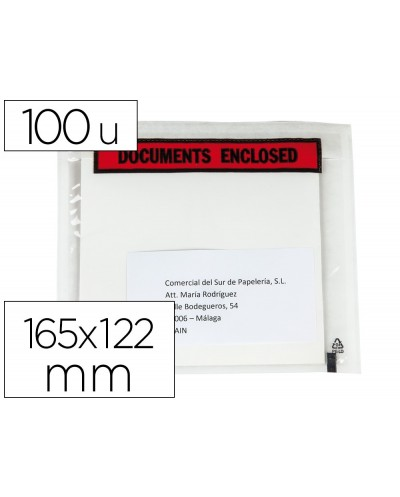 Sobre autoadhesivo q connect portadocumentos multilingue 165x122 mm sin ventana paquete de 100 unidades