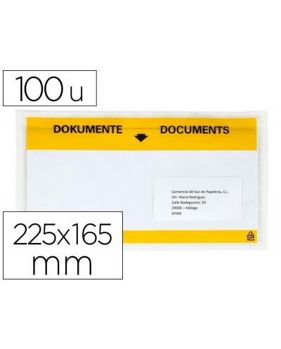 Sobre autoadhesivo q connect portadocumentos multilingue 225x165 mm ventana transparente paquete de 100