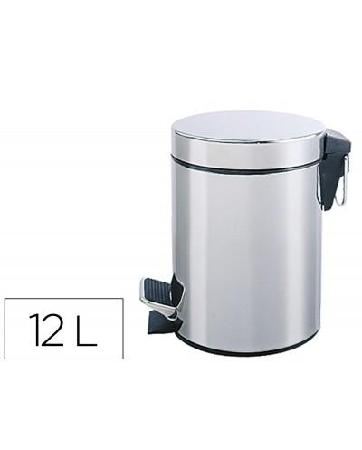 Papelera metalica q connect con pedal cromada 25x38cm capacidad 12 litros