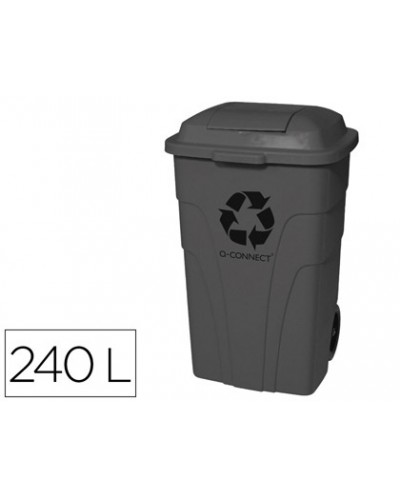 Papelera contenedor q connect plastico con tapadera 240l color gris 1040x610x610 mm con ruedas