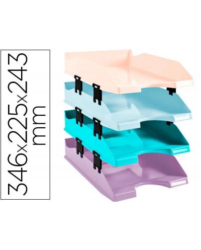 Bandeja sobremesa exacompta plastico aquarel set de 4 bandejas combo midi colores pastel 346x225x243 mm