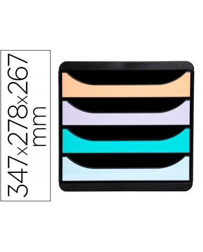 Fichero de cajones sobremesa exacompta big box aquarel negro 4 cajones colores pastel glossy