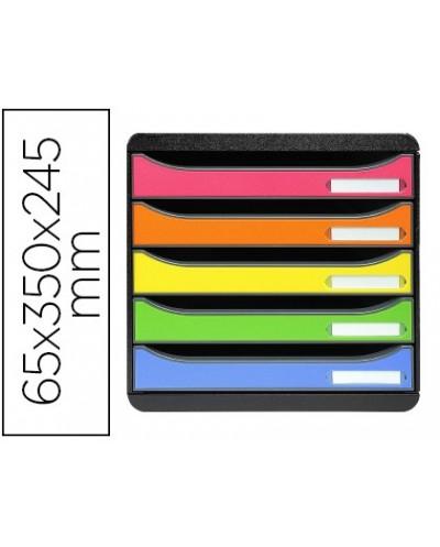 Fichero cajones sobremesa exacompta big box plus classic iderama arlequin 5 cajones multicolores