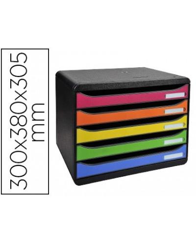 Fichero cajones sobremesa exacompta big box plus apaisada iderama arlequin 5 cajones multicolores